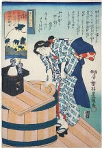 Utagawa Kunisada (Toyokuni III) Scenes for the Twelve Correspondences According to the Ise Almanac, Middle Section: Nozuku, Cleaning the Well in the Seventh Month