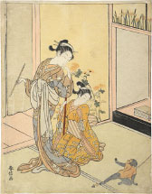 Suzuki Harunobu Courtesan and Shinzo with Pet Monkey