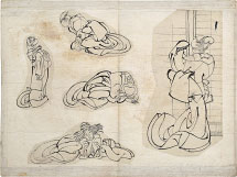 attributed to  Hokusai (or Katsushika Oi) sketches of women