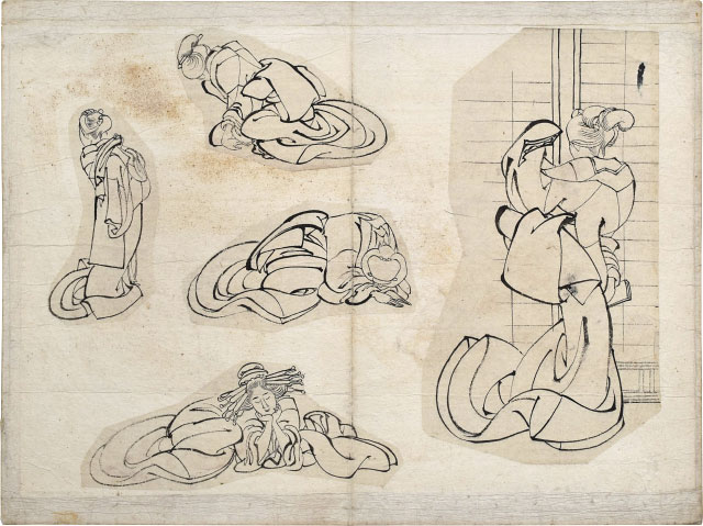 attributed to  Hokusai sketches of women