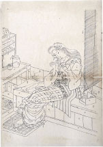 Utagawa School Preparatory Drawing of a Woman Assembling a Doll W…