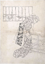 Utagawa School Preparatory Drawing of a Beauty Leaning Over a Sta…