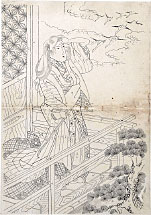 attributed to Keisai Eisen Preparatory Drawing of a Beauty on a Veradah with …