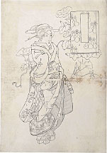 Keisai Eisen Preparatory Drawing of a Standing Beauty with Blos…