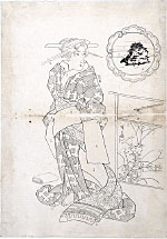Keisai Eisen Preparatory Drawing for print of 'Beauties of Five…