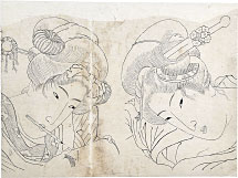 attributed to Keisai Eisen Preparatory Drawing of Double Portrait of Two Beau…