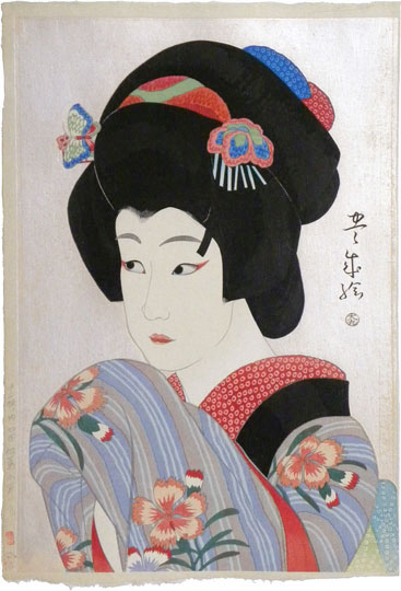 Yamamura Koka, Flowers of the Theatrical World: Ichikawa Shocho II as Oman