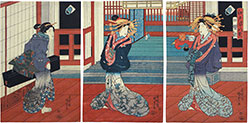 Utagawa Kunisada (Toyokuni III) Eight Views of Edo Figures: Shinagawa