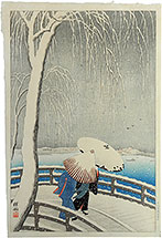 Koson, snow on willow bridge