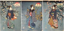 Utagawa Fusatane Comparison of Beauties with Spring Flowers: Cherry, Mountain Rose, and Plum