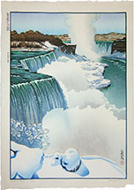 Paul Binnie, Niagara Falls, woodblock print