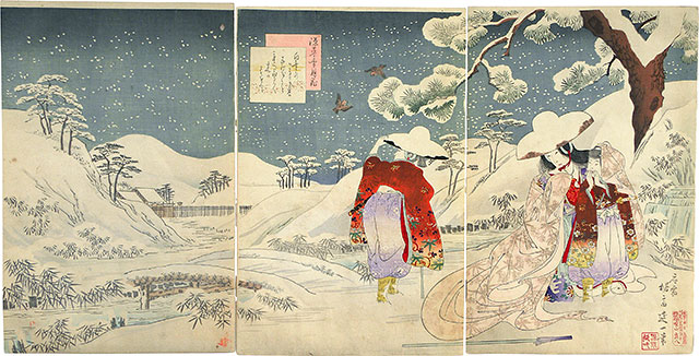 Watanabe Nobukazu, Snow, Moon, Flowers, Lady Tokiwa Gozen Fleeing Kyoto with her Three Sons