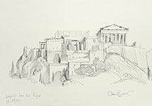 Paul Binnie Acropolis original pencil sketch (on site)