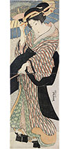 Keisai Eisen beauty holding umbrella in snow