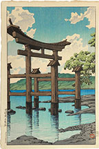 Kawase Hasui Gozanoishi Shrine at Lake Tazawa