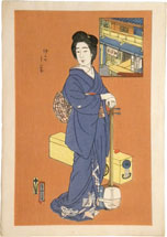 Natori Shunsen The Matsumoto Teahouse in Nakanomachi: The Geisha Chitosei