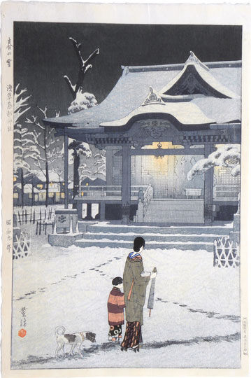 Kasamatsu Shiro, Spring Snow at Torigoe Shrine, Asakusa