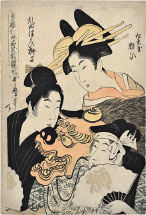 Kitagawa Utamaro Comparison of Smiling Faces in the Niwaka Festival of the Green Houses, 2nd Part of the Performances: Yosooi of Matsubaya