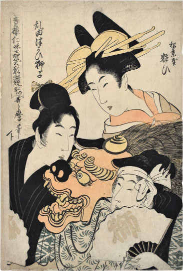 Kitagawa Utamaro, Comparison of Smiling Faces in the Niwaka Festival of the Green Houses, 2nd Part of the Performances: Yosooi of Matsubaya