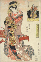 Kikugawa Eizan Akoya, the Wife of Kagekiyo and Chichibu Shigetada