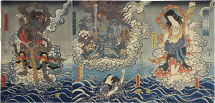 Utagawa Kunisada (Toyokuni III) Life of Honchomaru Tsunagoro saved by divine favor at Naritasan
