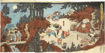Utagawa Kunisada (Toyokuni III) Ushiwakamaru Training with Tengu in the Mountains …