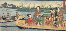 Utagawa Kunisada (Toyokuni III) Flowers and Birds: Genji and His Companions Sharing a Boat