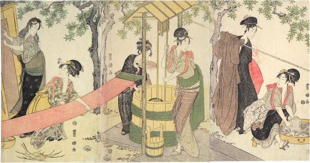 Utagawa Toyokuni I, Women Washing and Stretching Cloth