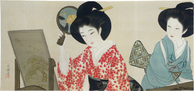 Hirezaki Eiho Two Beauties with Mirrors