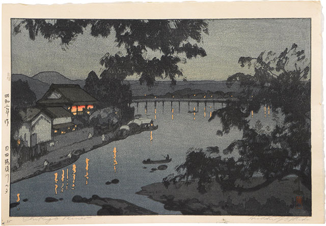 Hiroshi Yoshida, Evening on the Chikugo River, Hita