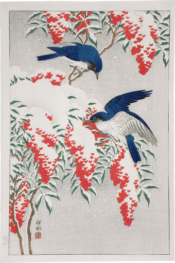 Ohara Koson, Nanten Bush and Flycatchers in Snow