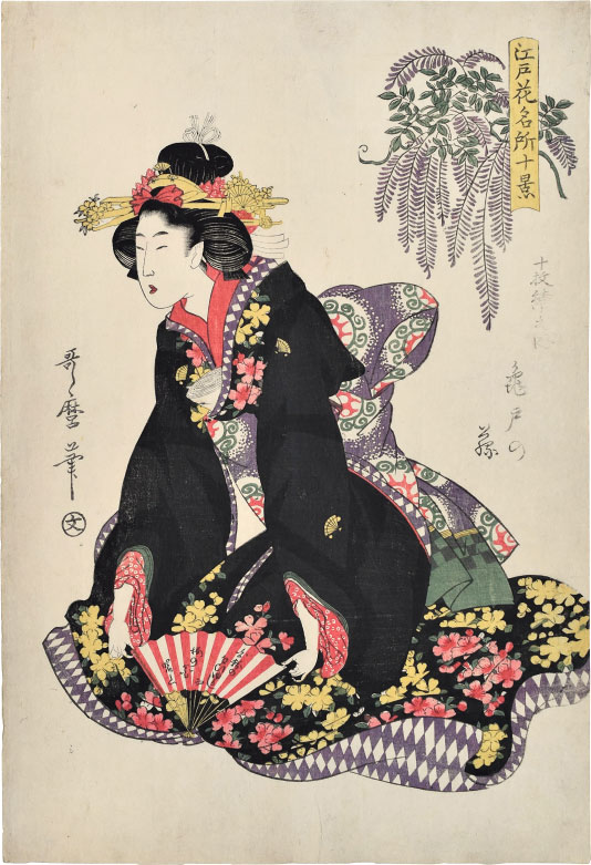 Kitagawa Utamaro, Ten Views of Famous Floral Places in Edo: Wisteria at Kameido