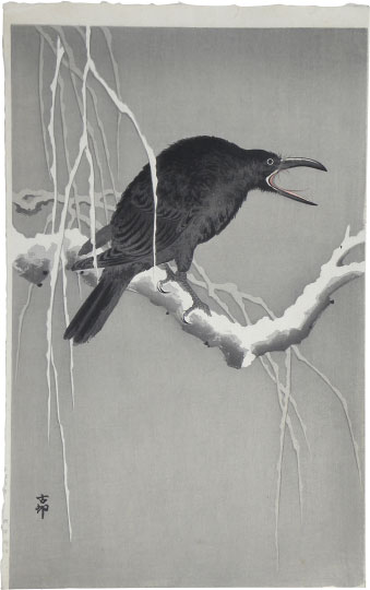 Ohara Koson, Cawing Crow on a Snowy Bough