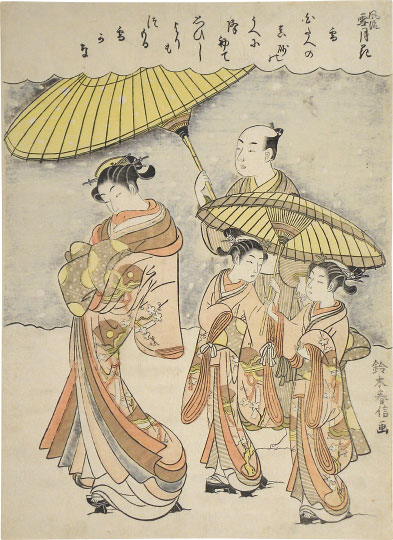 Suzuki Harunobu, Fashionable Snow, Moon and Flowers: Snow