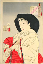 Tsukioka Yoshitoshi Refined, the Appearance of a Court Lady of the Kyowa era [1801-1804]