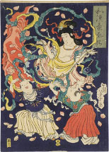 Tsukioka Yoshitoshi Apsara dancing with two children