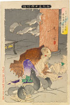 Tsukioka Yoshitoshi Picture of Priest Raigo of Mii Temple Transforming into a Rat by his Wicked Thoughts