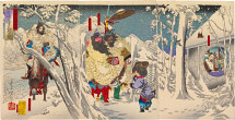Tsukioka Yoshitoshi Illustrations of the Romance of the Three Kingdoms: Liu Bei Visits Zhuge Liang in a Snow Storm