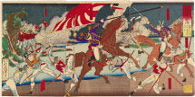 Tsukioka Yoshitoshi Chronicle of the Conquest of Kagoshima: Officer Nozu Retrieves the National Flag During a Battle at the Mouth of the Takase River