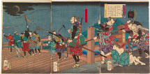 Tsukioka Yoshitoshi Eight Views of Warriors' Fine Tales: Descending Geese Over Yahagi Bridge