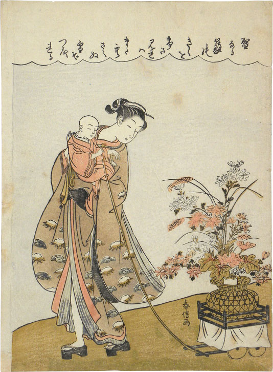 Suzuki Harunobu Young Beauty Carrying a Child Pulling a Flower Cart