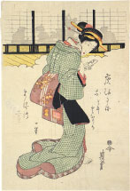Keisai Eisen Shadows on the Shoji: Beauty Holding a Letter
