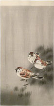 Ohara Koson Sparrows in a Rain Shower