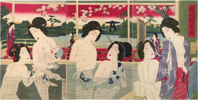 Yoshu Chikanobu, View of  Modern Hotspring