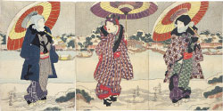 Utagawa Kunisada (Toyokuni III) Actors Ichikawa Danjuro VII, Iwai Kumesaburo II and Matsumoto Koshiro V at the Sumida River in the Snow