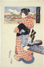Keisai Eisen Famous Views of Edo and Beauties Compared: Sumida …