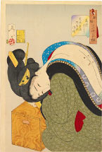 Tsukioka Yoshitoshi Hot, The Appearance of a Wealthy Housewife in the Bunsei era [1818-1830]