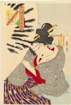 Tsukioka Yoshitoshi Frozen, The Appearance of a Fukagawa Nakamachi geisha of the Tempo era [1830-1844]