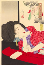Tsukioka Yoshitoshi Drowsy, the appearance of a harlot of the Meiji era