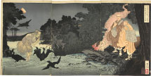 Tsukioka Yoshitoshi Picture of the Priest Nichiren Praying for the Restless Spirit of the Cormorant Fisherman of the Isawa River